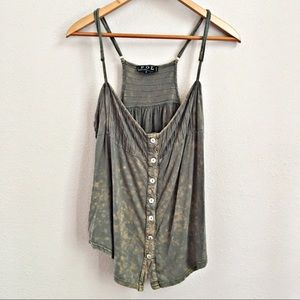 POL Stone Washed Tank Top Green Pintuck Size S